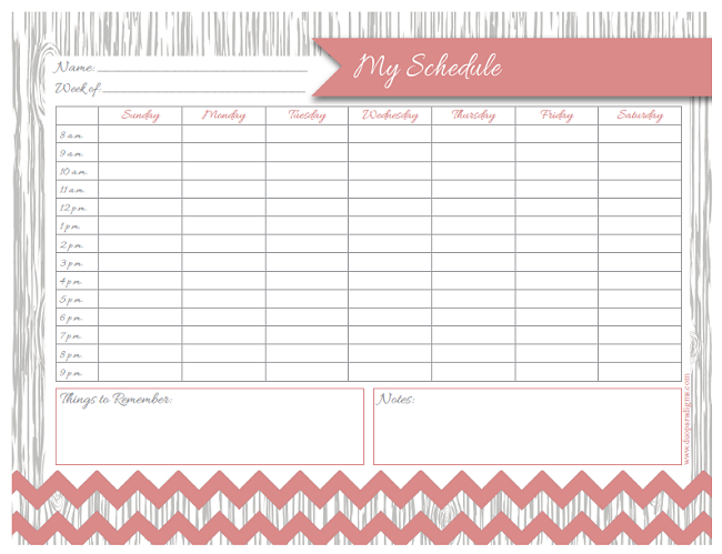 Cute Printable Weekly Schedule Free daily & weekly schedule printables ...