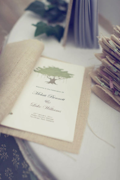 Burlap Wedding Program Cover