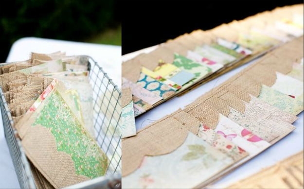 DIY Wedding Programs from Burlap and Vintage Patterned Paper