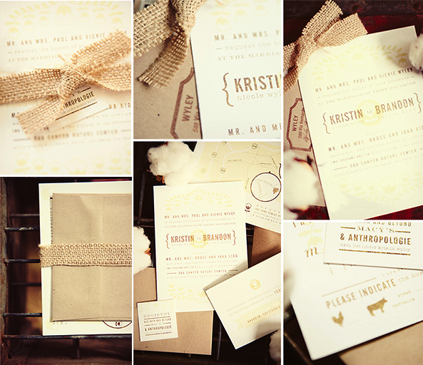 Burlap Wedding Invite Suite