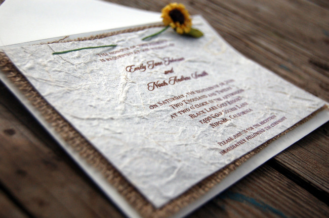 D-I-Y Rustic Burlap Sunflower Wedding Invitation