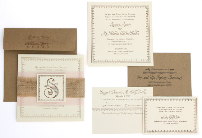 Vintage Burlap Letterpress Wedding Invitations